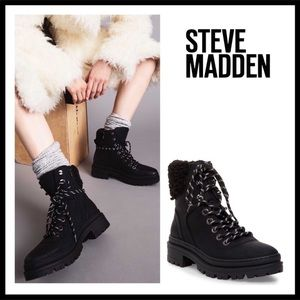 STEVE MADDEN ANKLE BOOTIES BLACK LACE UP BOOTS A3C